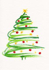 Handgemalter geschmückter Weihnachtsbaum