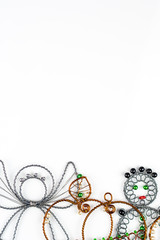 steel wool Christmas symbols on white background