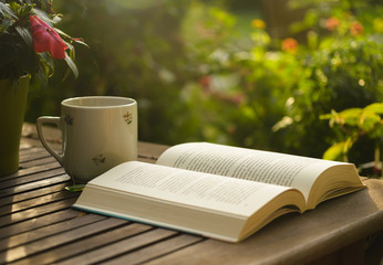 Cup of tea and open book on wooden table in garden.