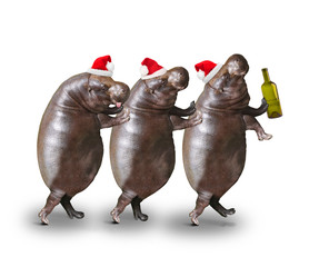 Three drunken hippos going to home from christmas party.