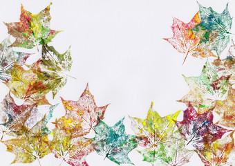 Herbstliche Blätter Rahmen gezeichnet auf Papier