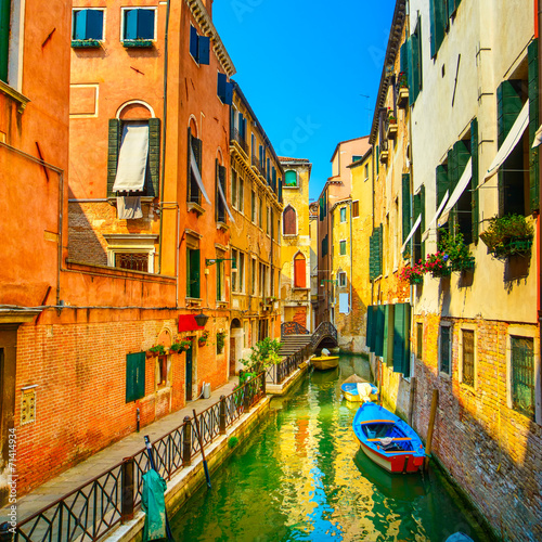 Fotobehang Venice Venice cityscape, buildings, water canal and bridge. Italy