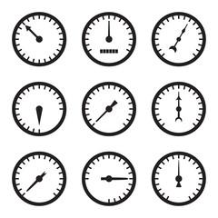 Set of black meter icons