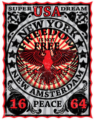New York Vintage Eagle Poster Man T shirt Graphic Design