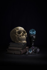Skull sat on books with a glowing magic crystal ball