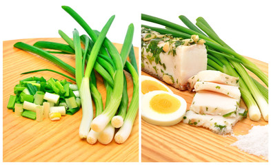 Smoked suet and lard slices, green onion, salt and boiled eggs o