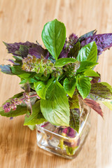 Fresh basil in a glass cup