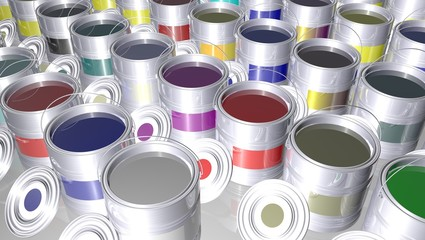 Group of cans color prints