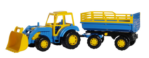 Toy tractor with a trailer