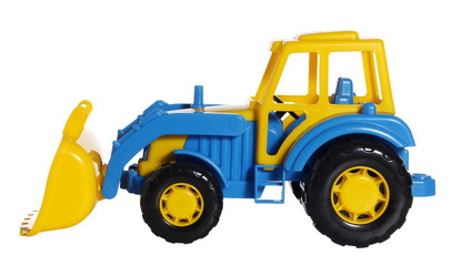 Toy tractor bulldozer side view