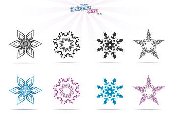 Collection of christmas stars, isolated on white, vector