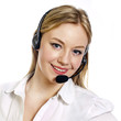 Young woman with a call centre headset