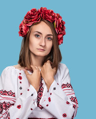 young girl in the Ukrainian national suit