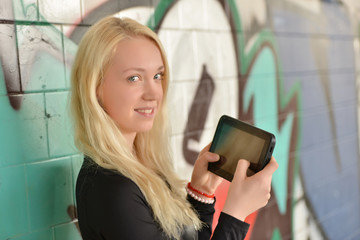 woman with her tablet pc