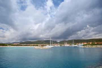 Classic yachts anchored in Porto Ottiolu, Sardinia