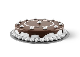 Cake with cream and chocolate