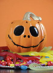 Halloween Jack-o-Lantern pumpkin with trick or treat candy