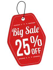 Big sale 25% off red leather label or price tag