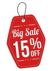 Big sale 15% off red leather label or price tag
