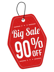 Big sale 90% off red leather label or price tag