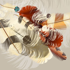 Art background with vector realistic feathers