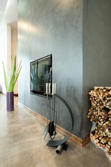 Modern fireplace in luxurious house