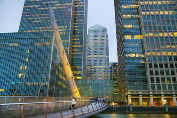 London, Canary Wharf in dusk