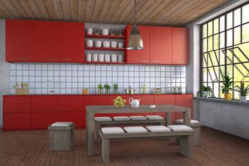 Modern Red Kitchen - Shot 1