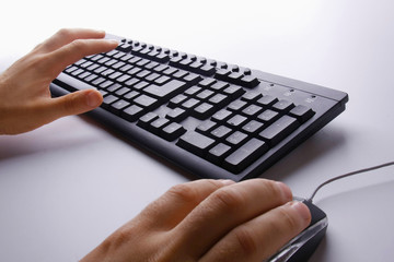 Male hands typing