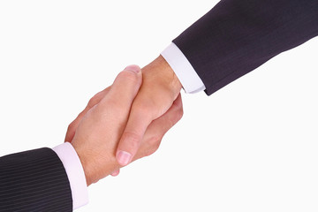 Closeup of business handshake on white