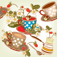 Beautiful seamless wallpaper pattern with cups of tea and strawb