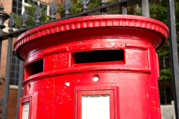 traditional red english letter box.