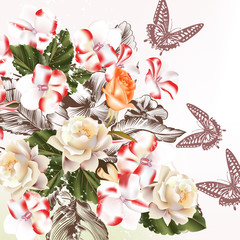 Bouquet of vector realistic flowers