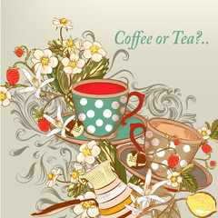 Coffee or tea background with hand drawn cups in vintage style