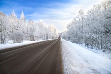 winter road highway traffic