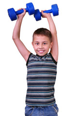 isolated portrait of  boy with dumbbells exercising