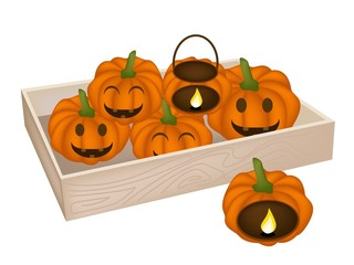 A Pile of Jack-o-Lantern Pumpkins in Wooden Box