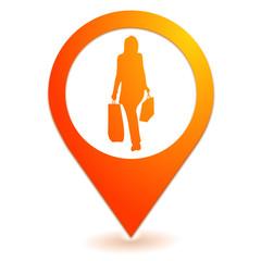 shopping sur symbole localisation orange