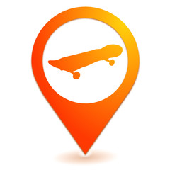 skate board sur symbole localisation orange