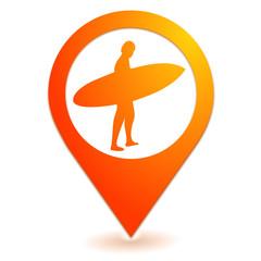 surf sur symbole localisation orange