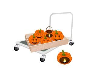 Hand Truck Loading Jack-o-Lantern Pumpkins in Shipping Box