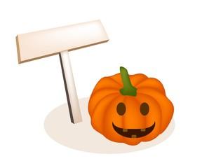 Illustration of Jack-o-Lantern Pumpkins and Wooden Placard