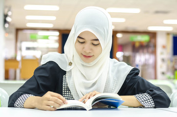 Portrait of Muslim in the library