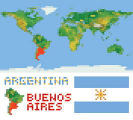 Argentina on physical world map, shape flag and capital buenos