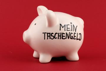 """Sparschwein mit Aufschrift """"Mein Taschengeld"""""""