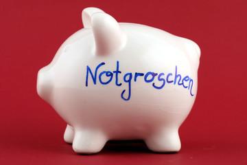 """Sparschwein mit Aufschrift """"Notgroschen"""""""