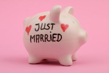 """""""Just married"""" Sparschwein, rosa Hintergrund"""