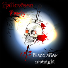 Halloween poster with skull  for party and disco design
