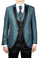Turquoise mens suit with floral pattern, for wedding or prom