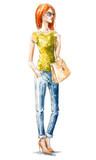 Fototapety street fashion. Summer look. watercolor